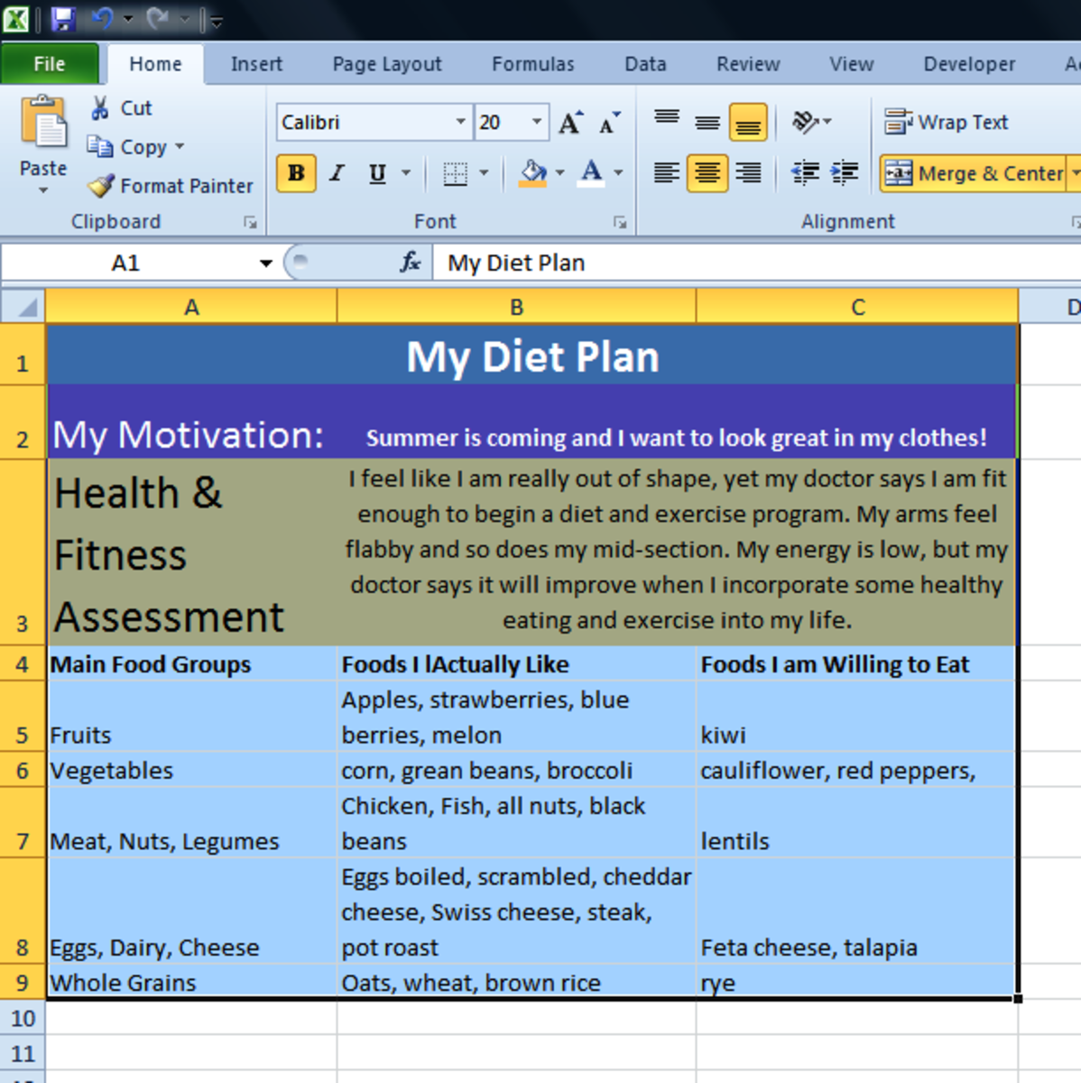 Begin your health and fitness program by writing it down!