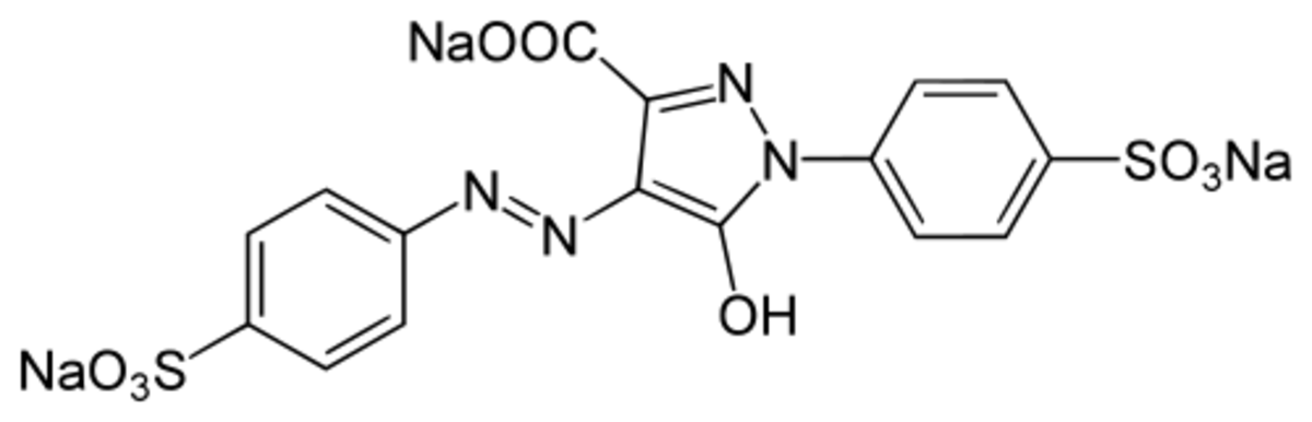 The chemical structure of yellow dye #5 (tartrazine)
