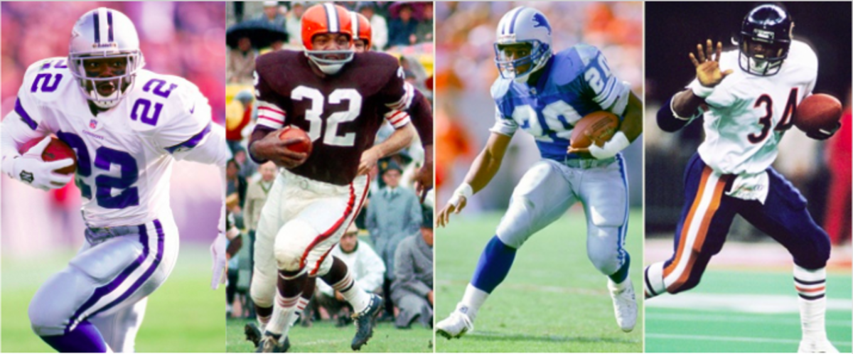 Emmitt Smith, Jim Brown, Barry Sanders, and Walter Payton are universally acknowledged as the greatest running backs of all time.