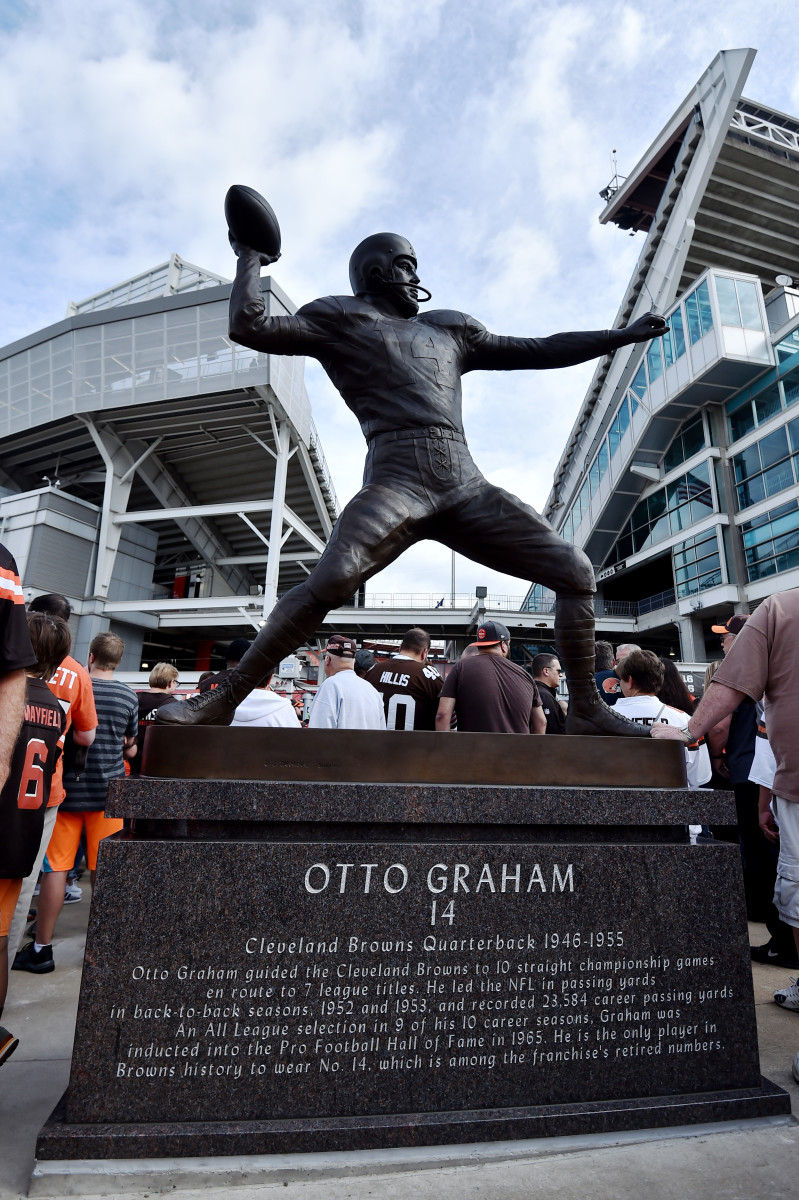 Sep 8, 2019; Cleveland, OH, USA; A general view of the newly erected statue of former Cleveland Browns quarterback Otto Graham outside of FirstEnergy Stadium.