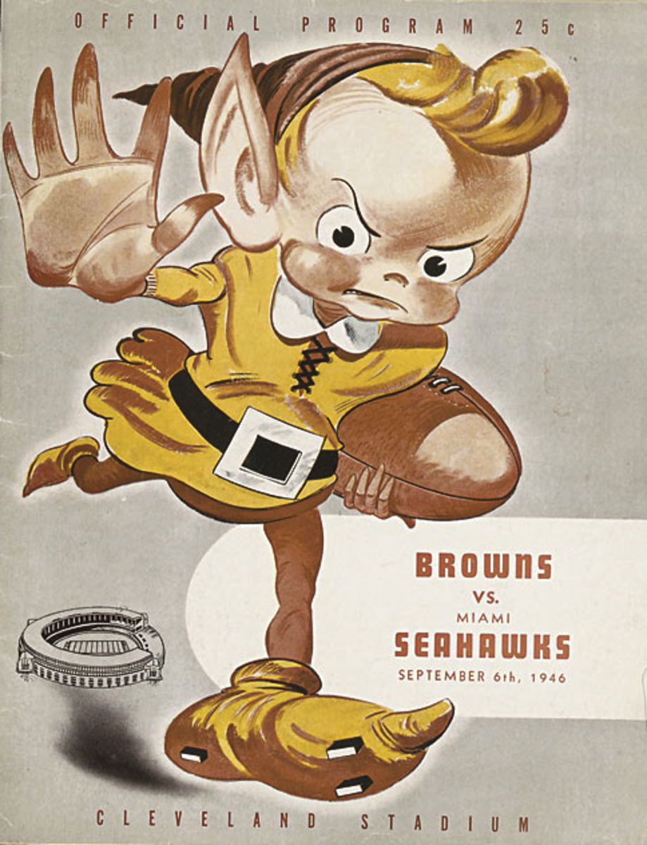 The Cleveland Browns became a franchise in 1946. Above is an original game day program featuring the Brownie elf mascot.