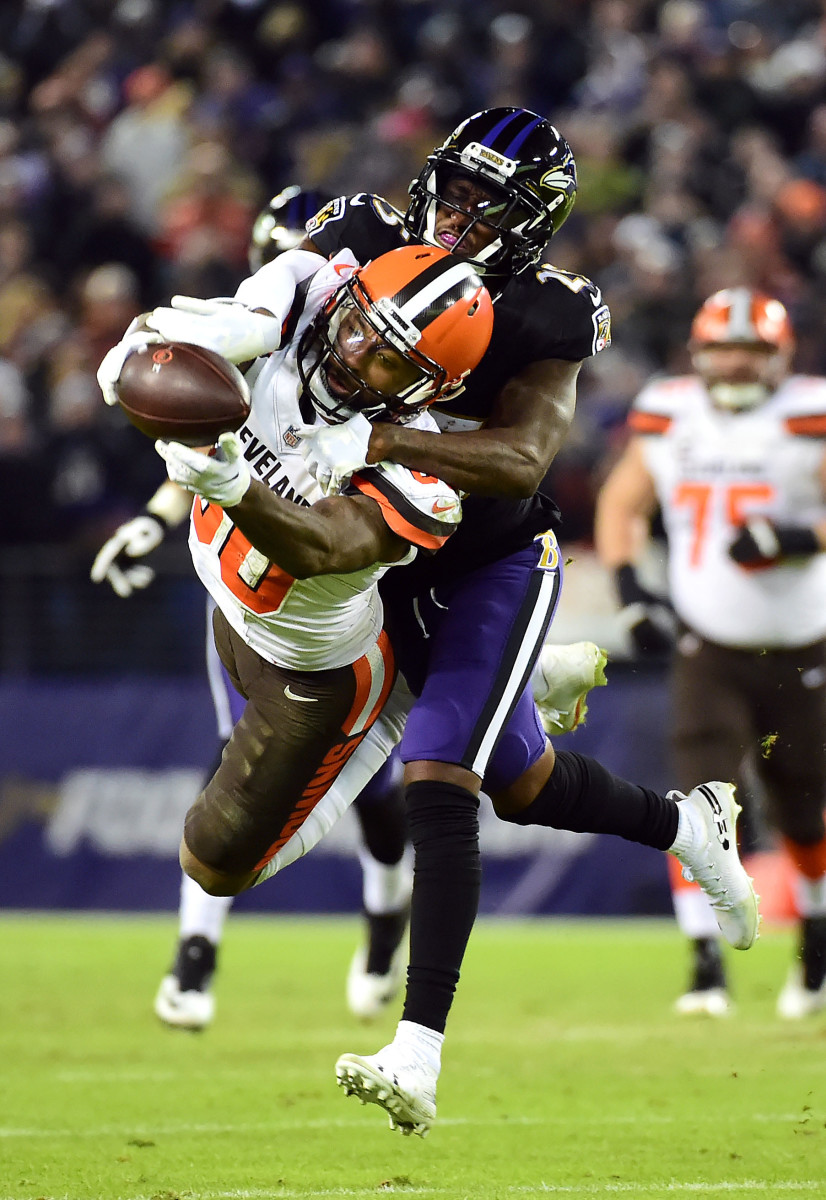 Dec 30, 2018; Baltimore, MD, USA; Cleveland Browns wide receiver Jarvis Landry (80) cannot catch a pass while being defended by Baltimore Ravens cornerback Tavon Young (25) at M&T Bank Stadium.