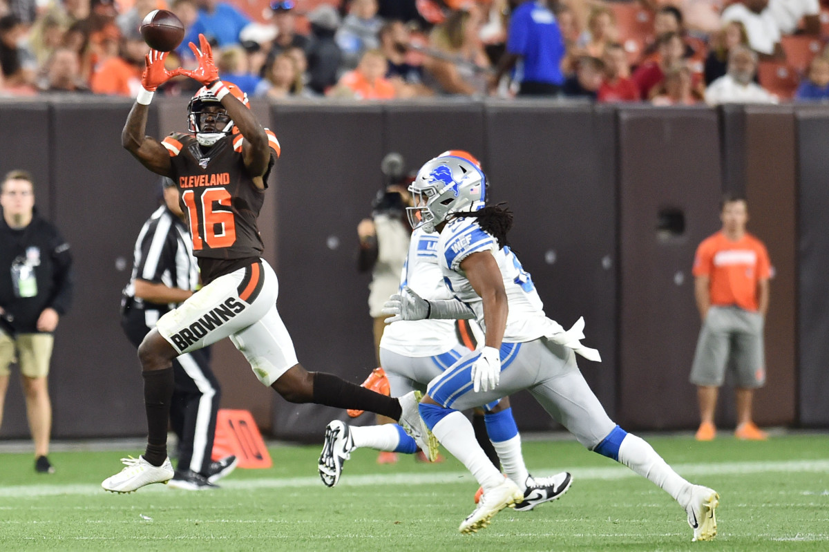 Aug 29, 2019; Cleveland, OH, USA; Cleveland Browns wide receiver Ishmael Hyman (16) makes a catch as Detroit Lions defensive back Mike Ford (38) defends during the second half at FirstEnergy Stadium.