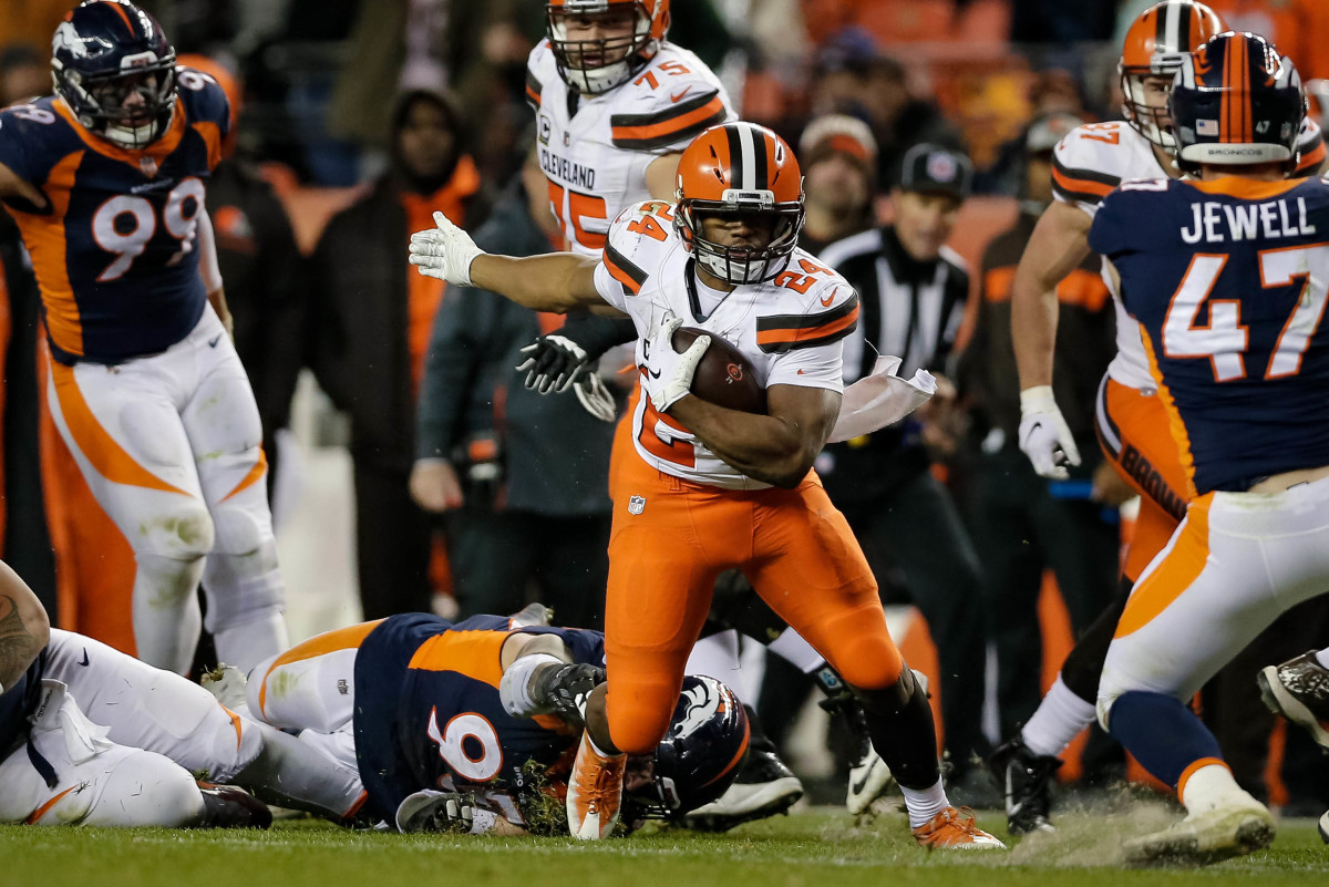 Dec 15, 2018; Denver, CO, USA; Cleveland Browns running back Nick Chubb (24) runs the ball in the fourth quarter against the Denver Broncos at Broncos Stadium at Mile High.