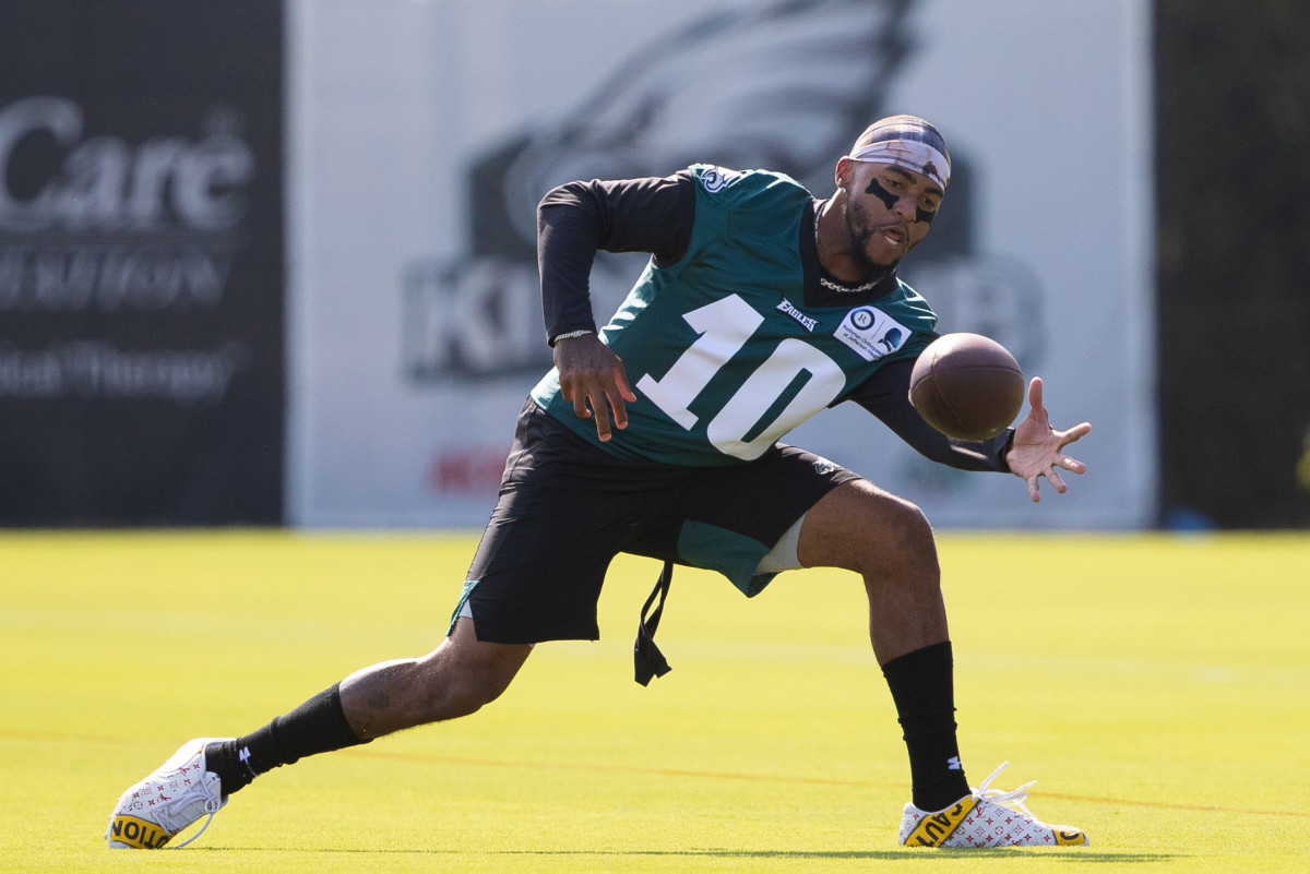 Eagles wide receiver DeSean Jackson (10) catches the ball during training camp at Novacare Complex.