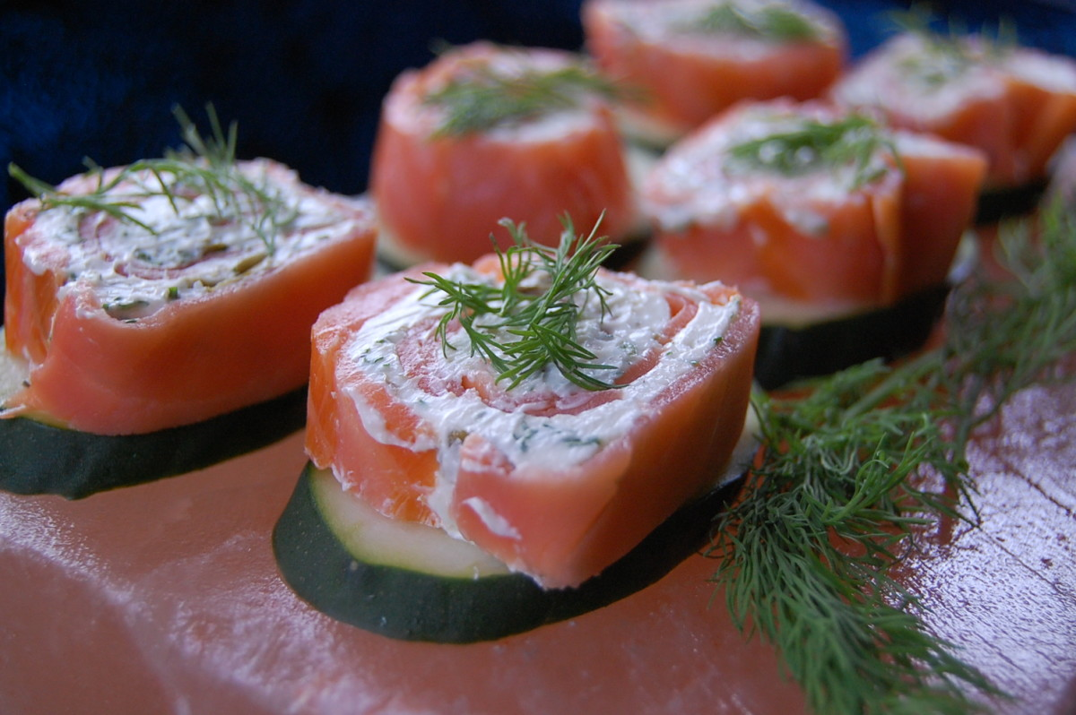 Cold salmon appetizer served on a chilled Himalayan salt block.