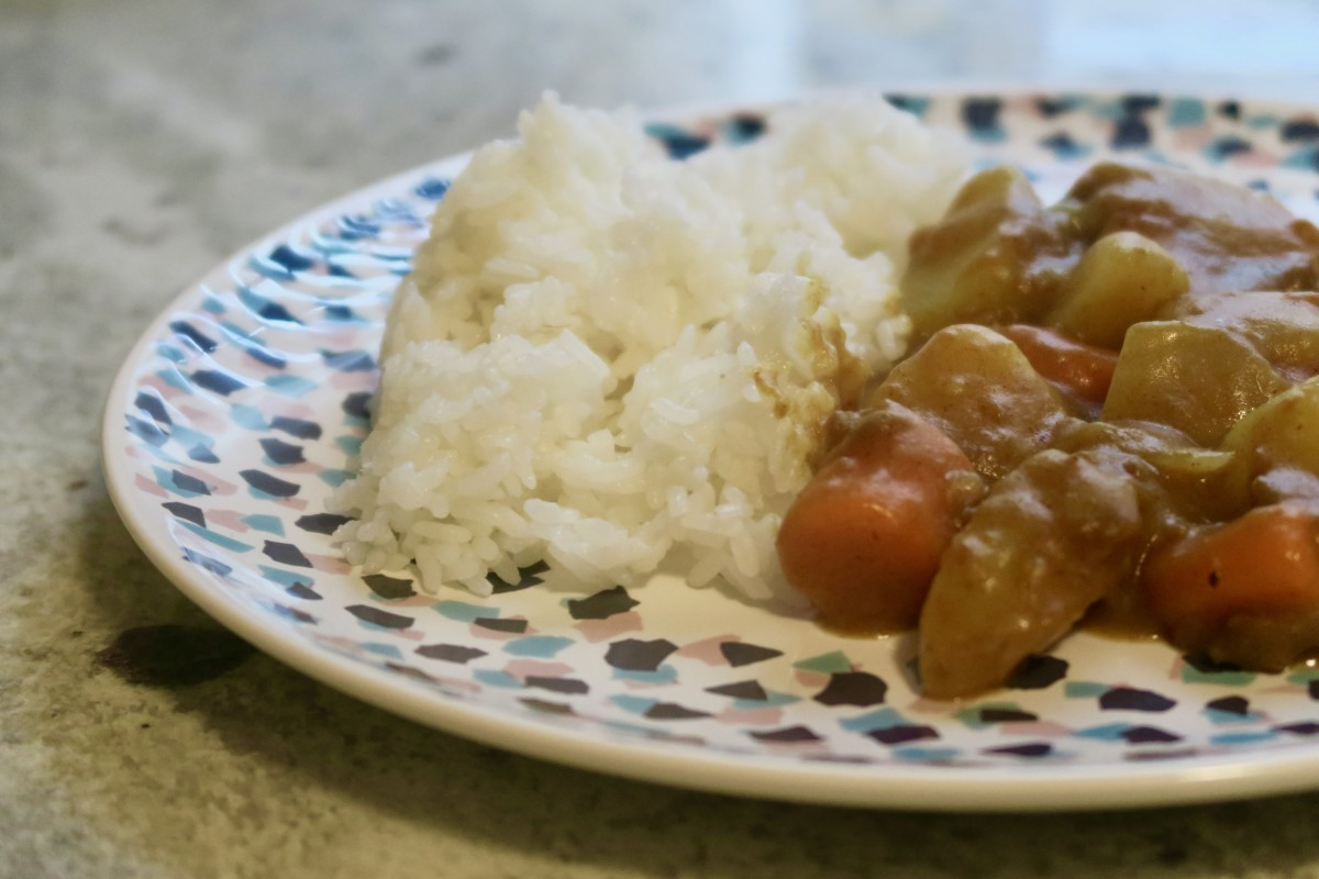 Japanese curry is best served with steaming white rice.