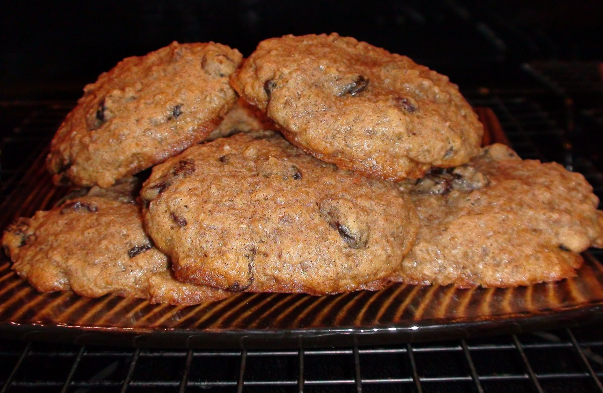 Organic Oatmeal Raisin Spice cookies using coconut oil, butter, and steel-cut oats.