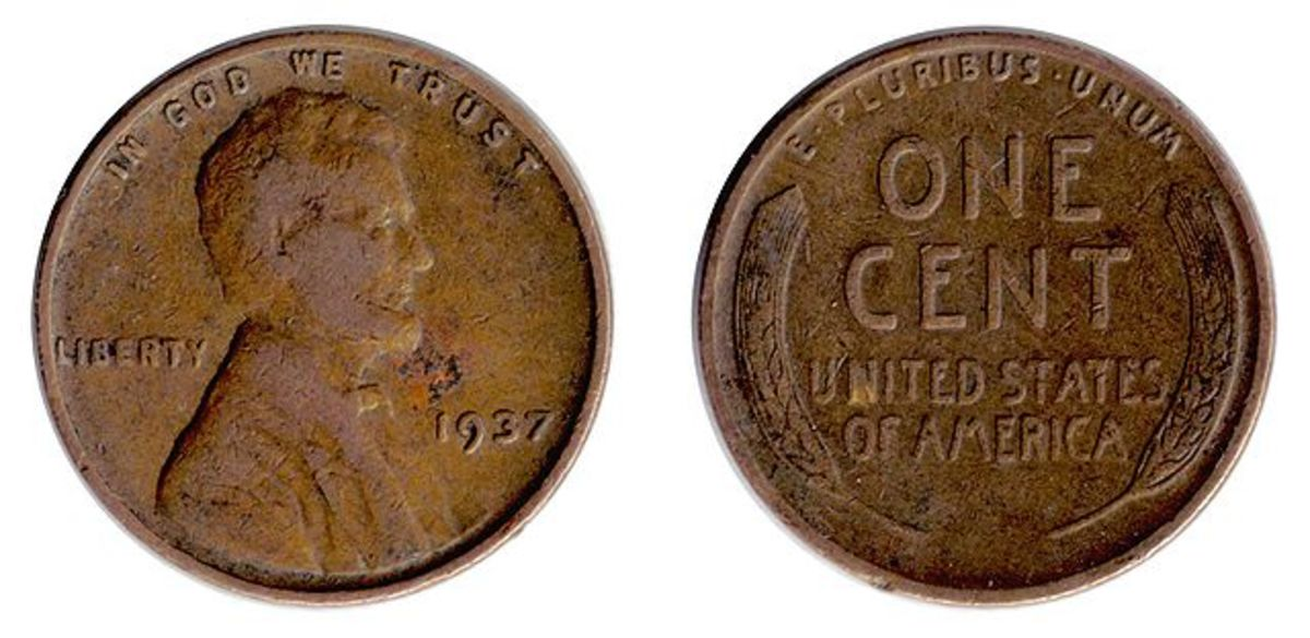 A (U.S.) 'Lincoln wheat penny,' or 'wheatie.'  These pennies were minted from 1909-1958.