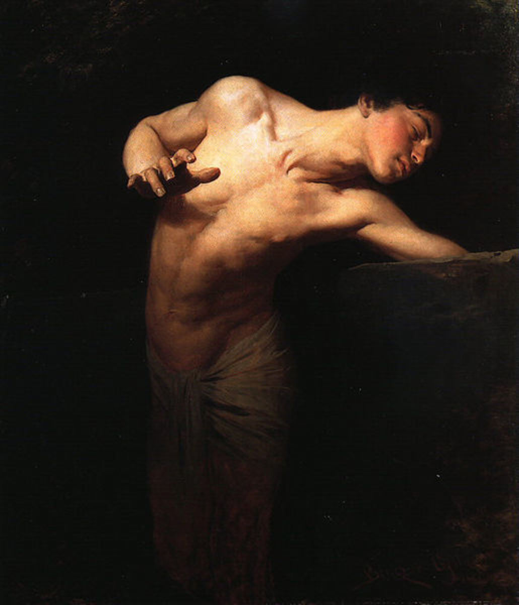 This painting of Narcissus, by Gyula Benczur (1844-1920), now hangs in the Hungarian National Gallery in a magnificient castle in Budapest.