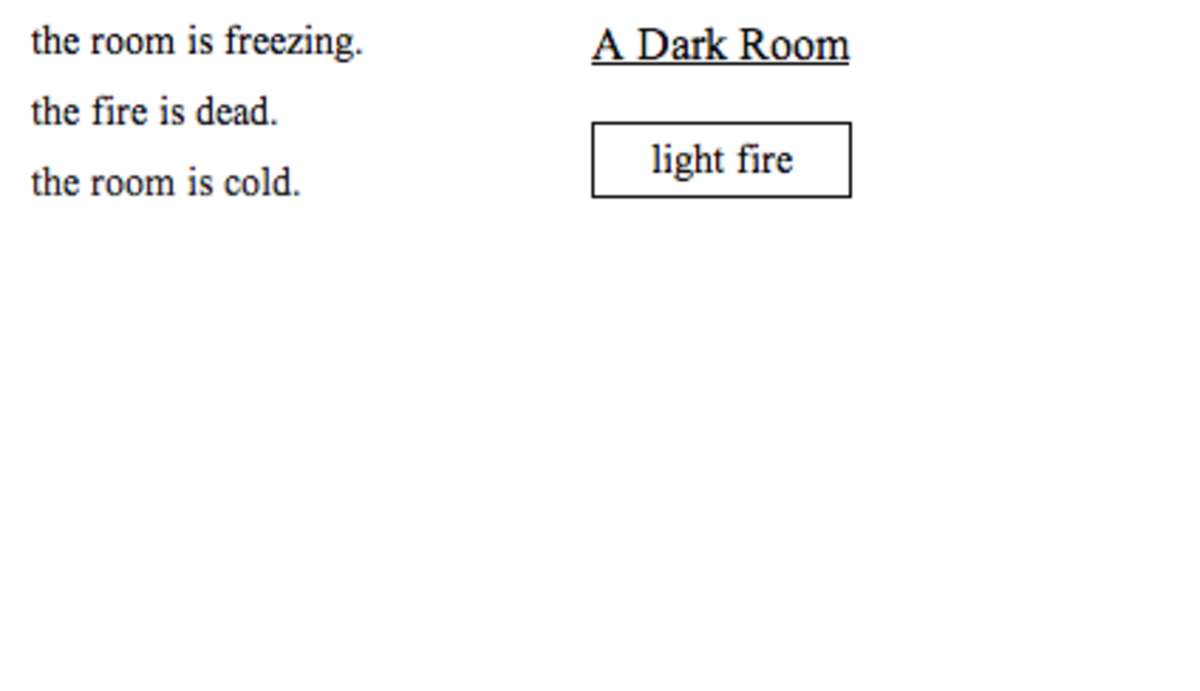 """""""A Dark Room"""" is created and owned by DoubleSpeak Games. Images used for educational purposes only."""