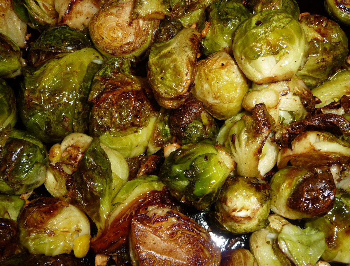 Garlic roasted Brussels sprouts.