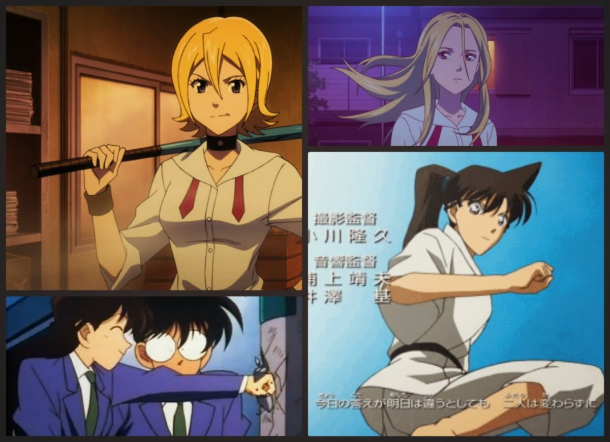 Hime Onizuka (Sket Dance) - upper left and upper right. Ran Mouri (Detective Conan) - lower left and lower right