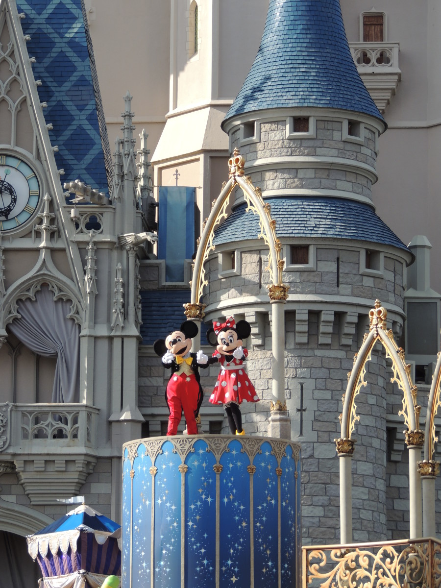Mickey & Minnie Mouse performing at Cinderella's Castle at Walt Disney's Magic Kingdom