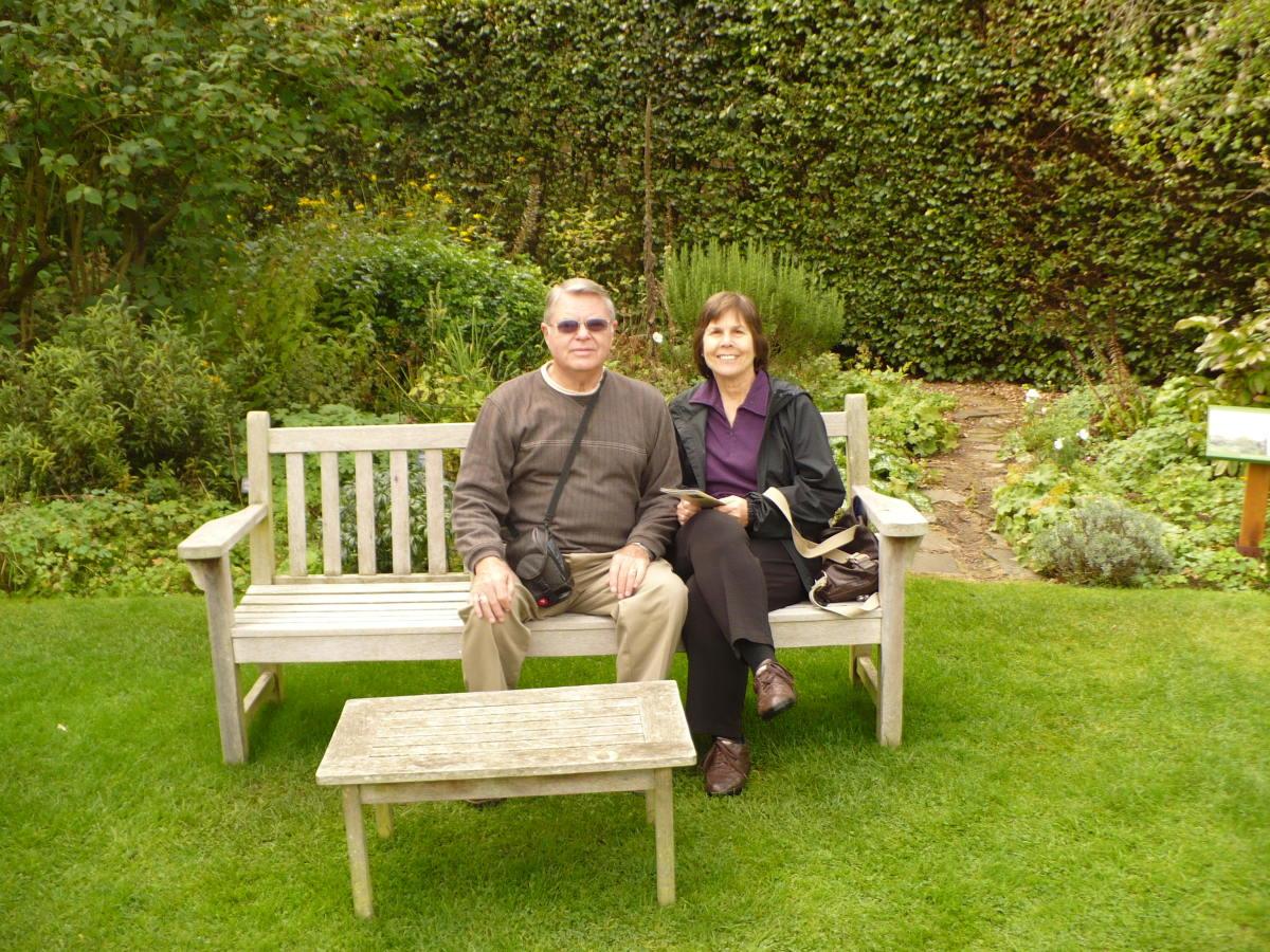 In the garden at Jane Austen's home in Chawton
