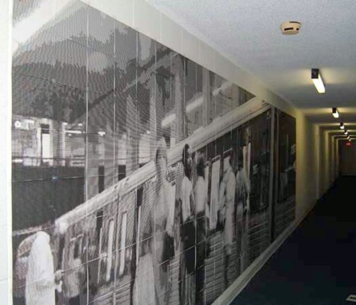 An impressive  photo is hung in a subway, excellent example of effective and successful tiled printing