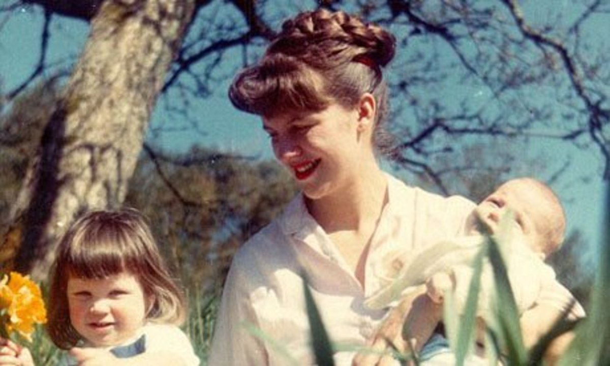 Sylvia Plath with her two children, Frieda and Nicholas
