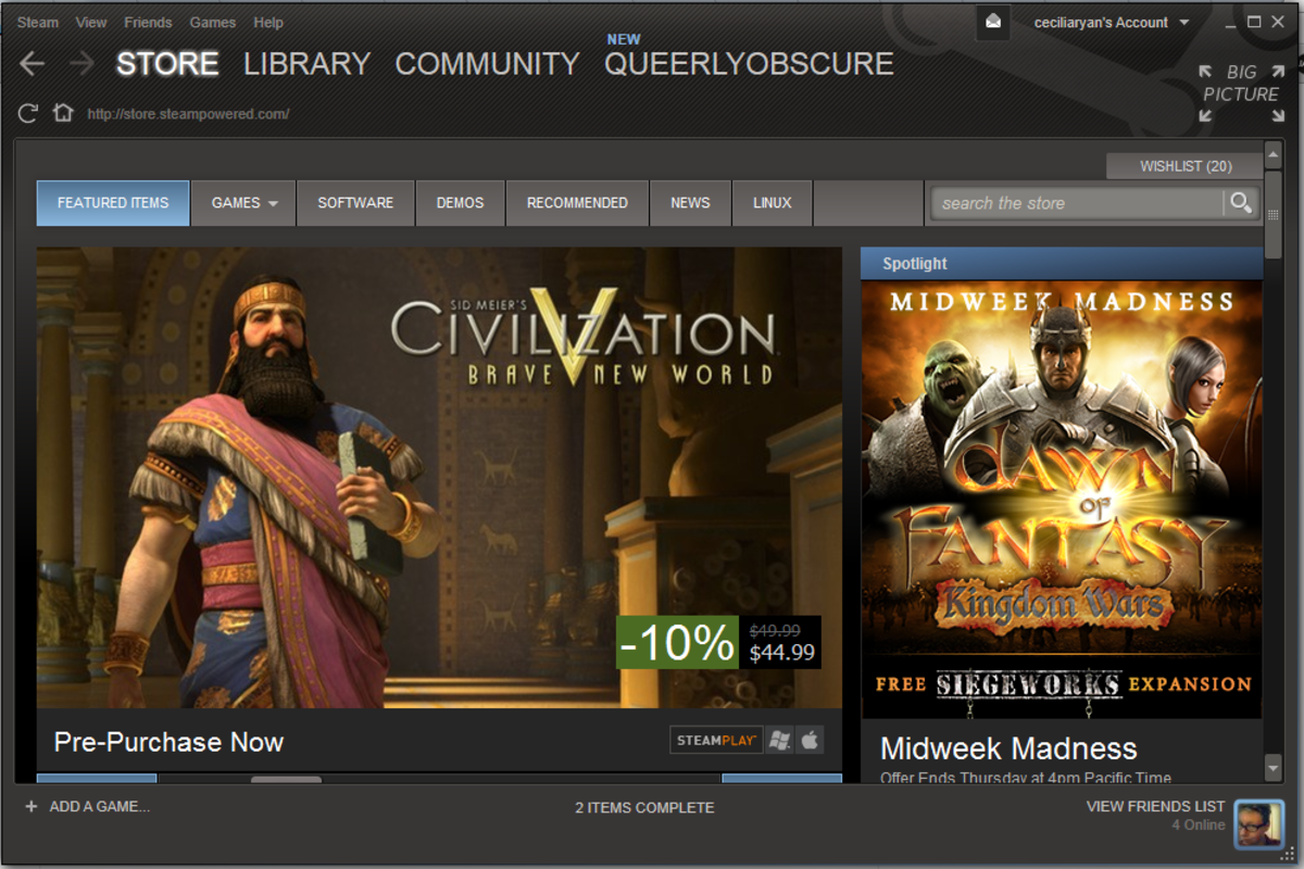 The Steam store page. This is the home screen of Steam.