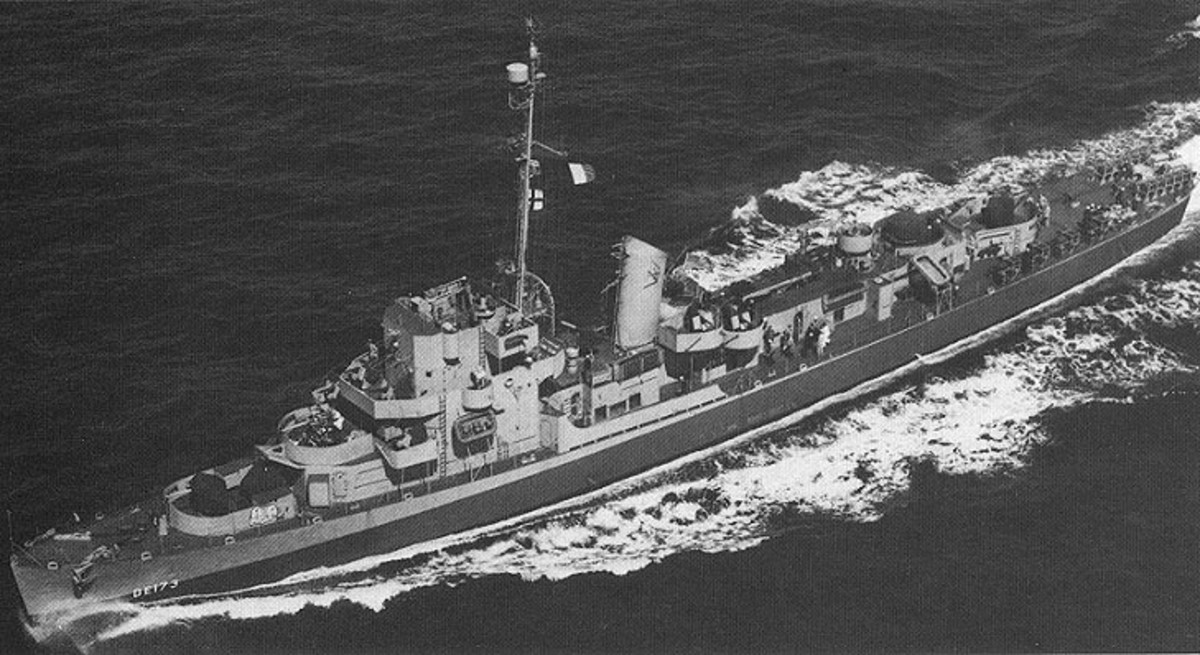 The USS Eldridge is pictured here on one of its nautical journeys. In some circles, it's better known for a mysterious disappearance at the hands of Naval scientists during the Philadelphia Experiment.