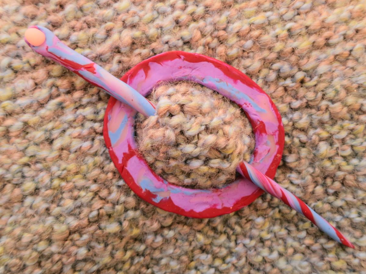 handmade polymer clay shawl pin and stick