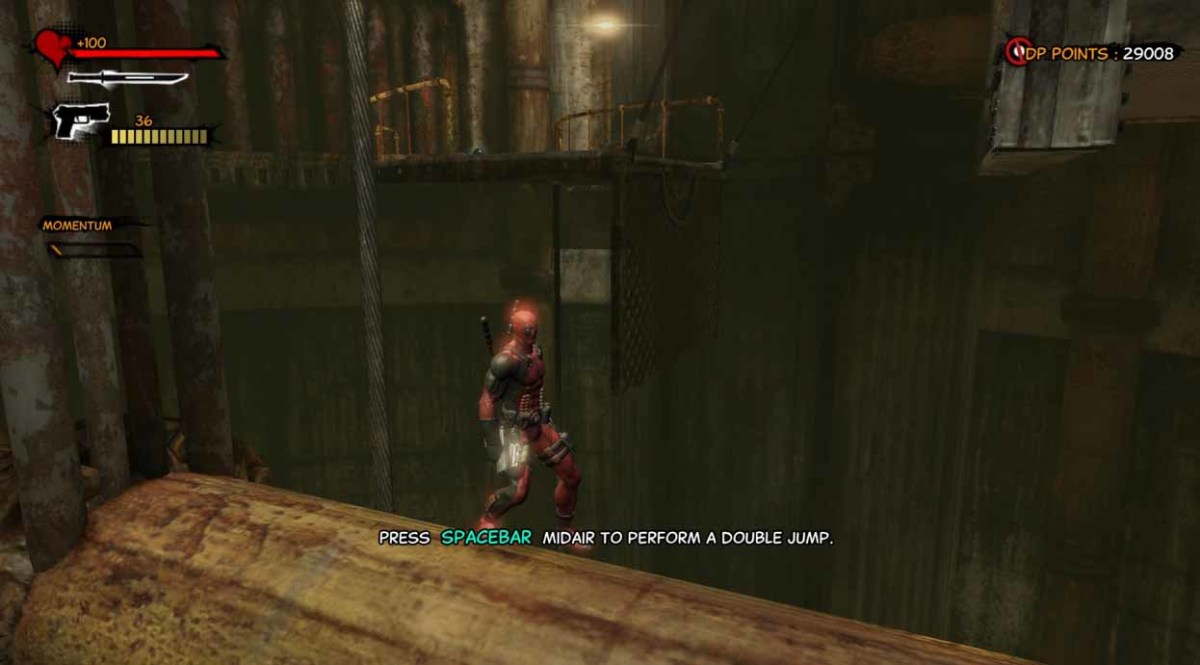 """""""Deadpool the Game"""" Walkthrough begins with jumping around. Try to jump onto this pipe and then jump to the ledge beyond."""