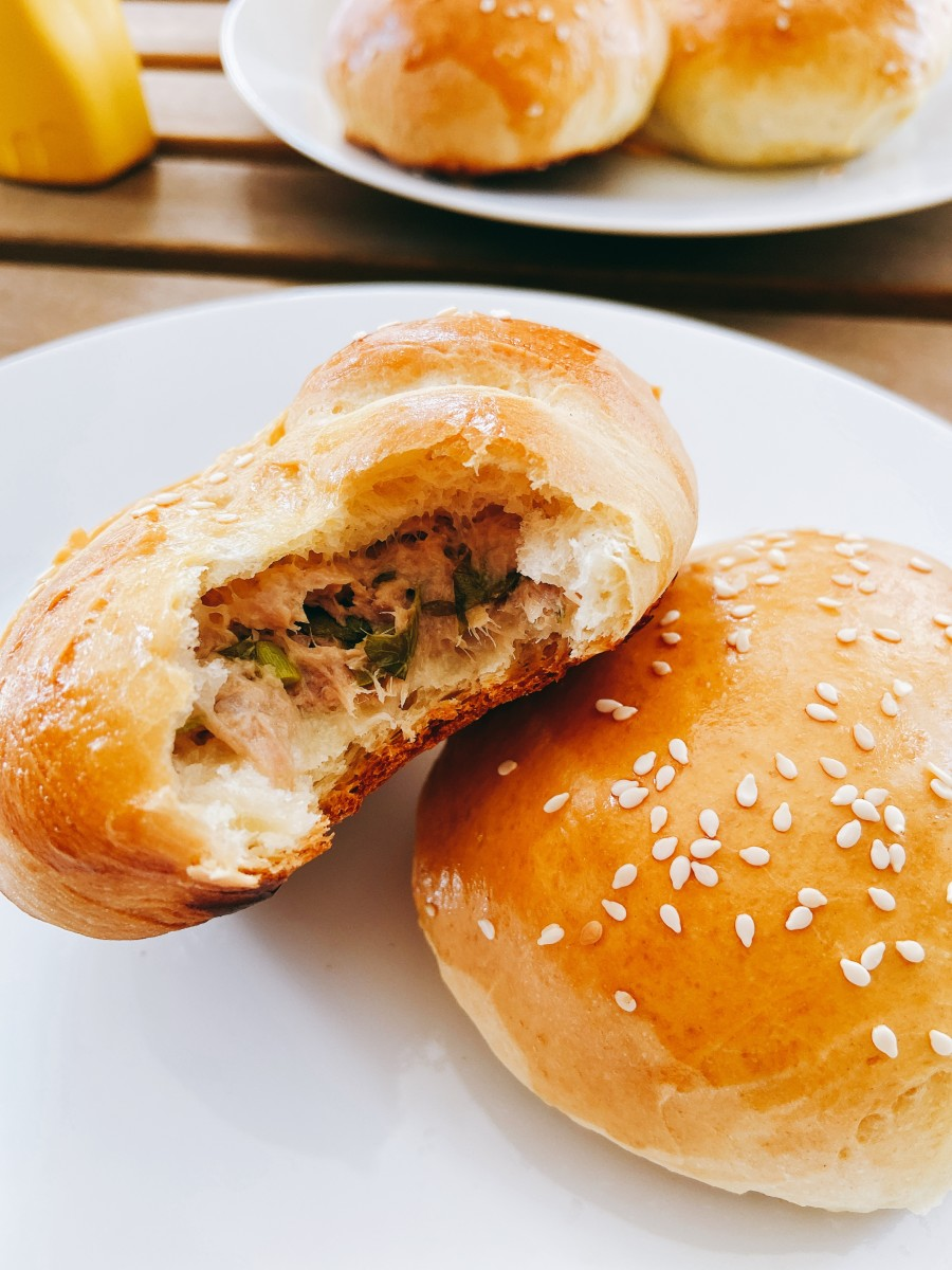 Yummy homemade tuna buns for a weekend lunch or afternoon snack