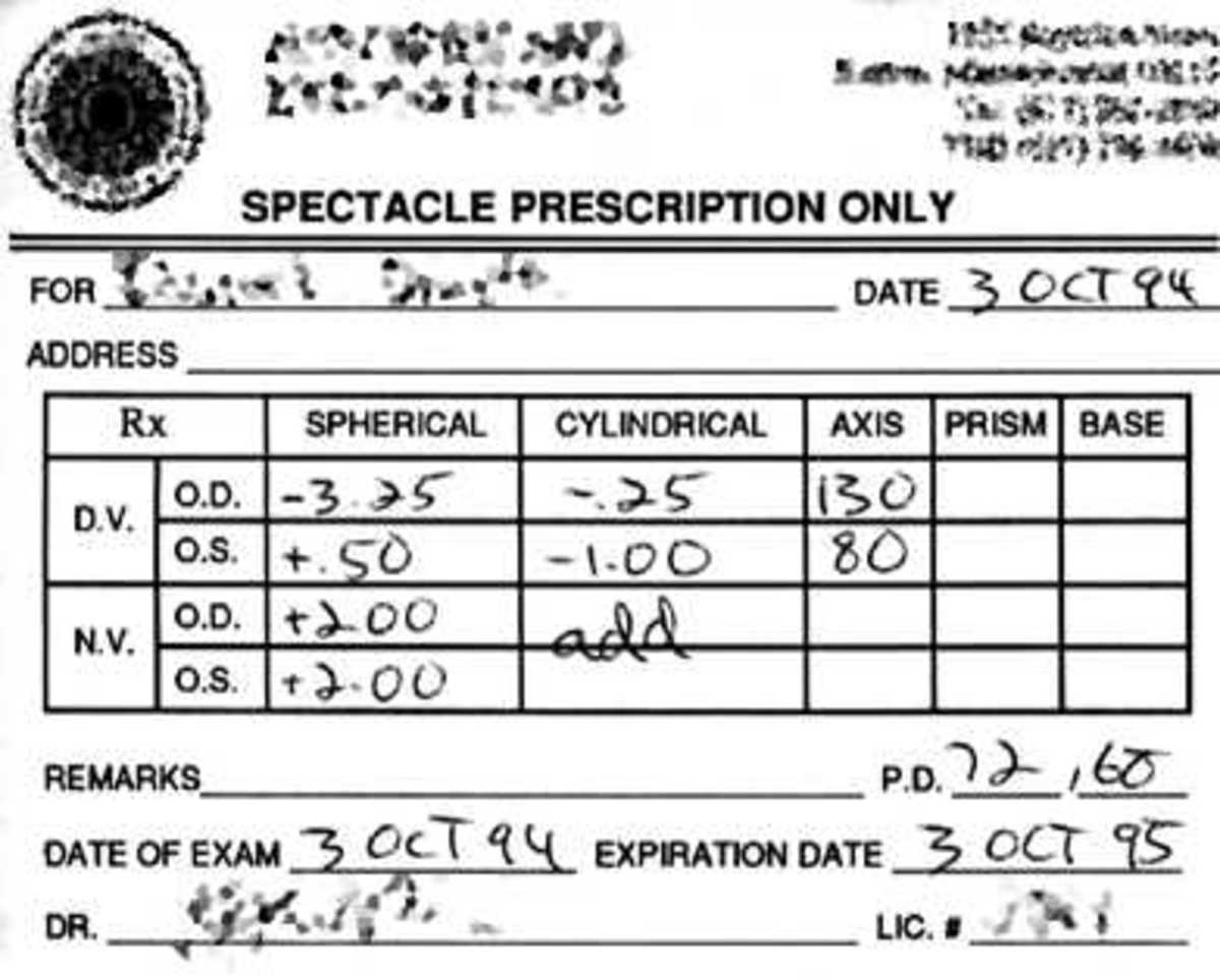 An example of an eyeglass prescription for bifocals