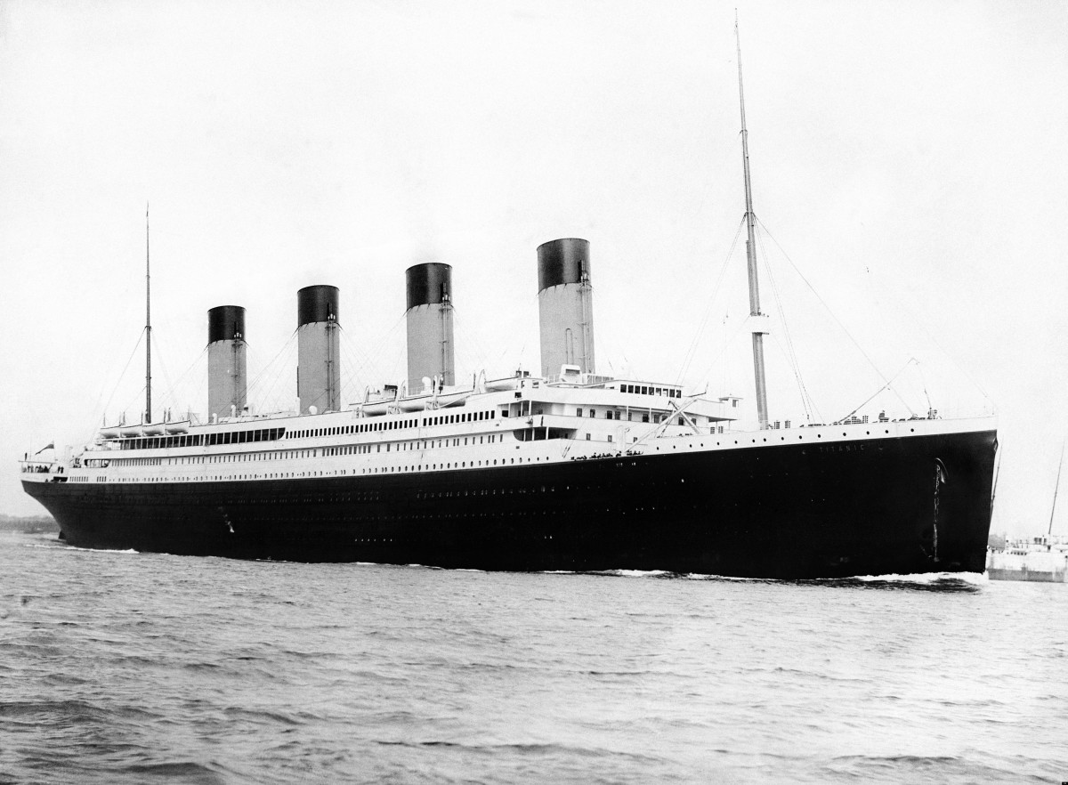 RMS Titanic departing from Southampton, England.  She would later call at Cherbourg in France and Queenstown, Ireland (now known as Cork or Cobh), before heading out across the Atlantic towards New York.