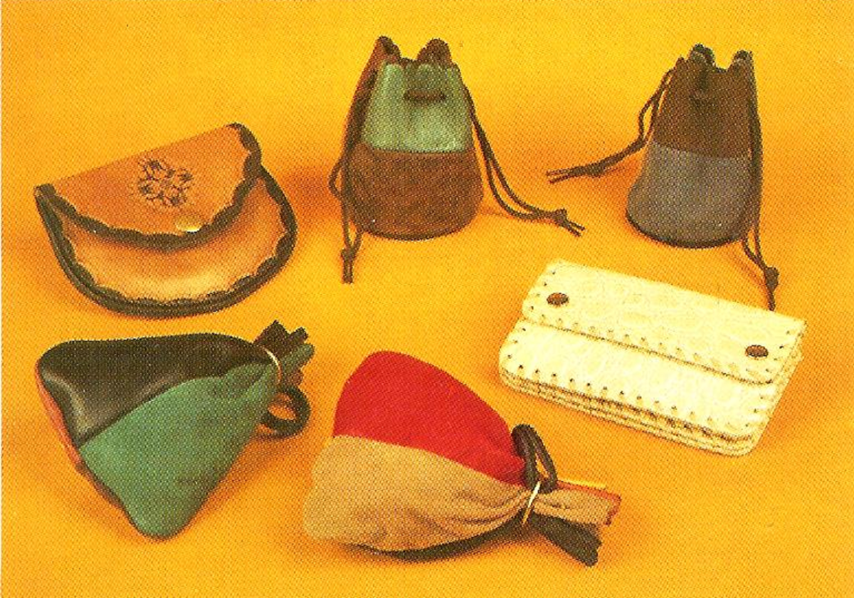 Suede Pouch Purses, Leather Handbag and an Imitation Leather Wallet