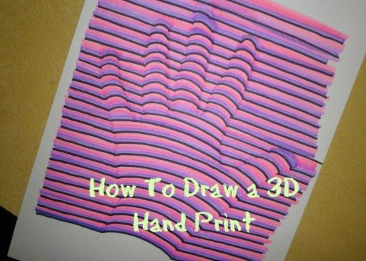 Art Lesson: How To Draw A Hand Print In 3 Dimensional Colors
