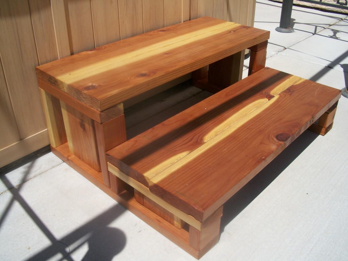 Finished redwood steps.  $55.05 plus some left over varnish plus labor.