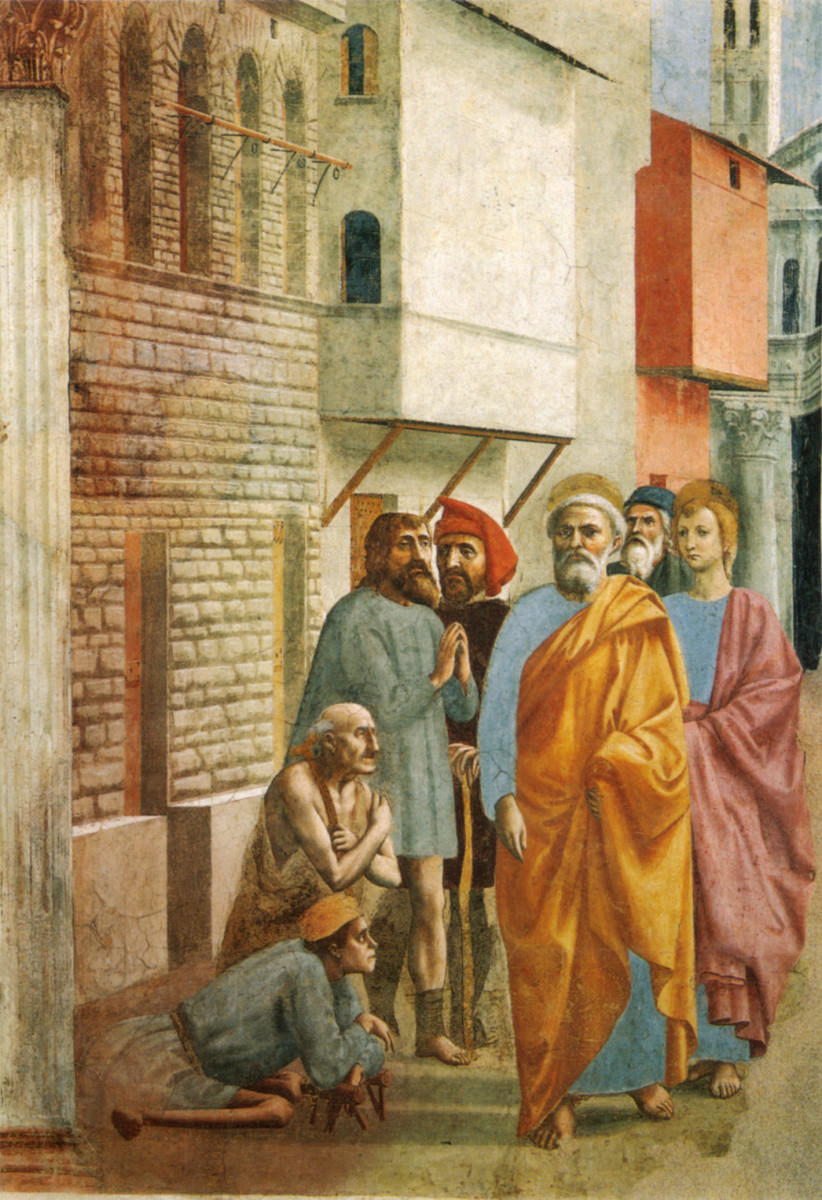 St. Peter Healing with His Shadow, Masaccio and Masolino, c. 1425.