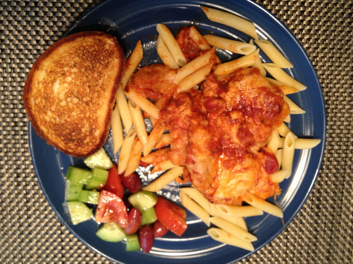 Chicken parmesan dinner at my house