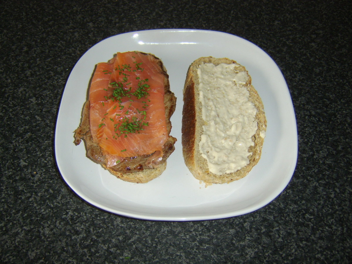 Smoked salmon is a delicious addition to a steak sandwich