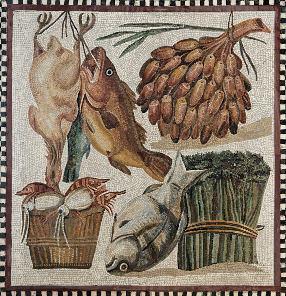 Roman tile mosaic depicting food items from a Tor Marancia villa, c. 2nd century CE.