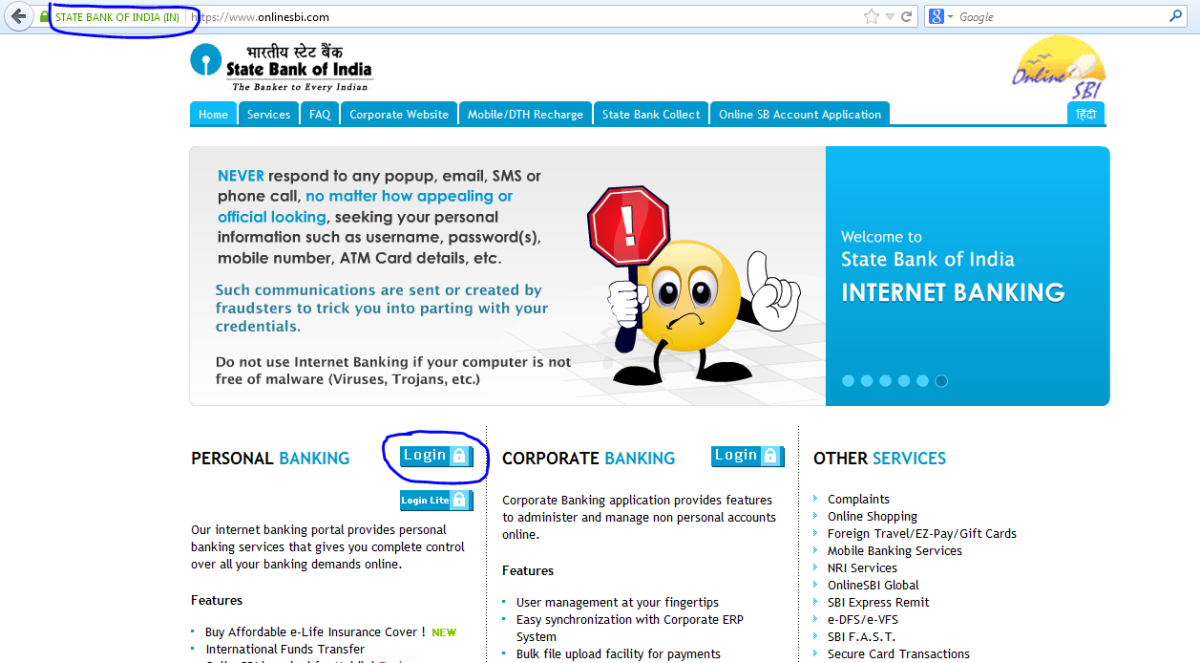 This is how the main home page of Online SBI looks like.