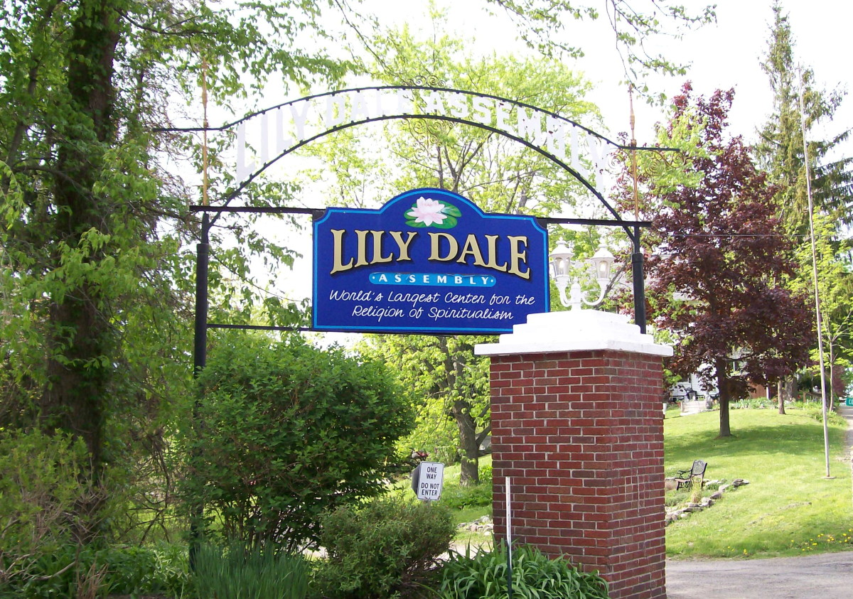The gate at the entrance to Lily Dale Assembly, NY, the oldest Spiritualist community in the US