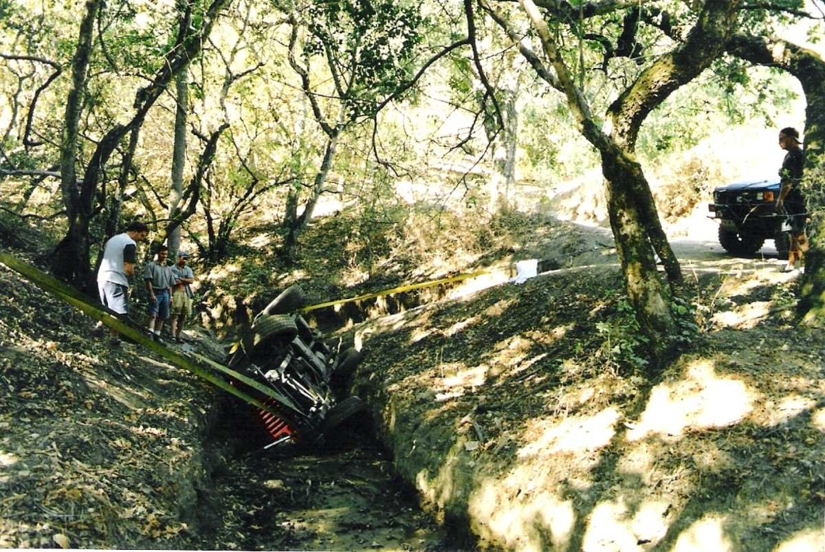 Believe it or not, this Jeep drove home from Hollister's dreaded tank trap that afternoon with a cracked windshield, but the rest was intact.