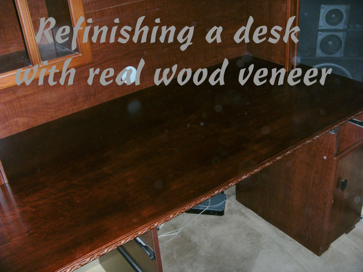 refinishing a desktop using real wood veneer dengarden