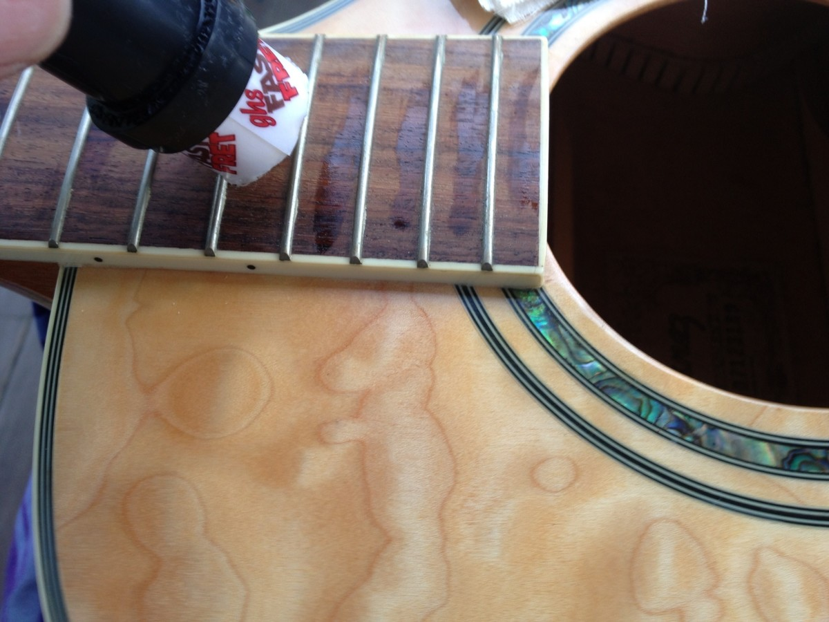 Cleaning up your guitar is a snap when the strings are out.  Every time you re-string your guitar is the perfect time to polish.