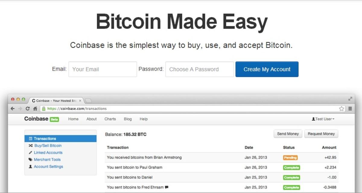 Coinbase homepage.