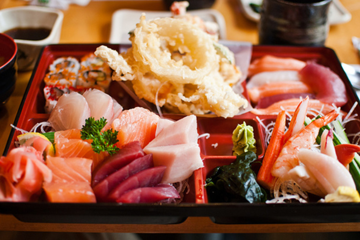 A sampling of Japanese cuisine.