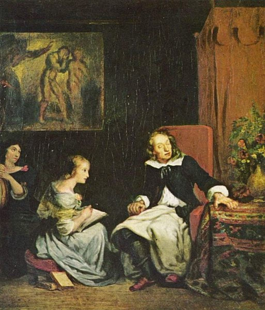 """Milton Dictates the Lost Paradise to his Three Daughters"" painting by Eugene Delacroix 1826"
