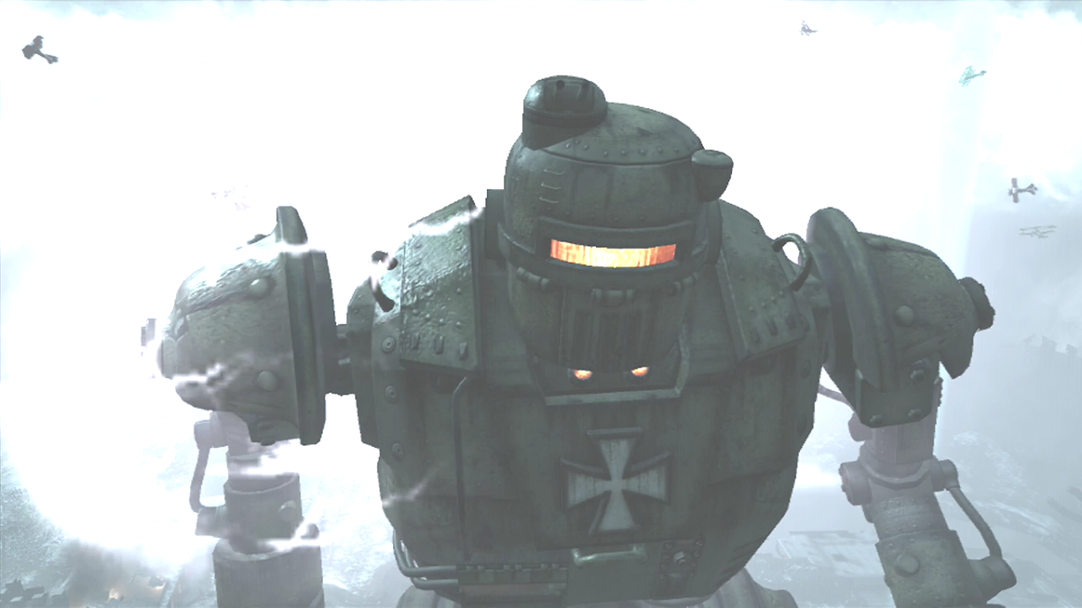 The Giant Robot has a Templar Cross on his Chest and Yellow Eyes.