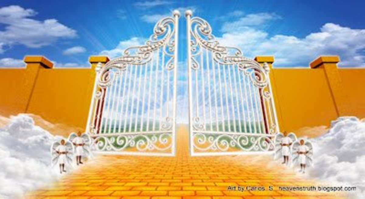 Heaven Gates With Angels Entering The Gates of Heaven