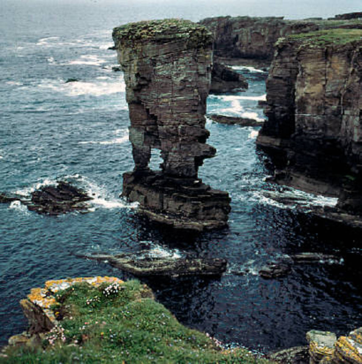 Some of the high cliffs and drastic rock formations found in the Orkney island. This formation is known as Yesnaby Castle,
