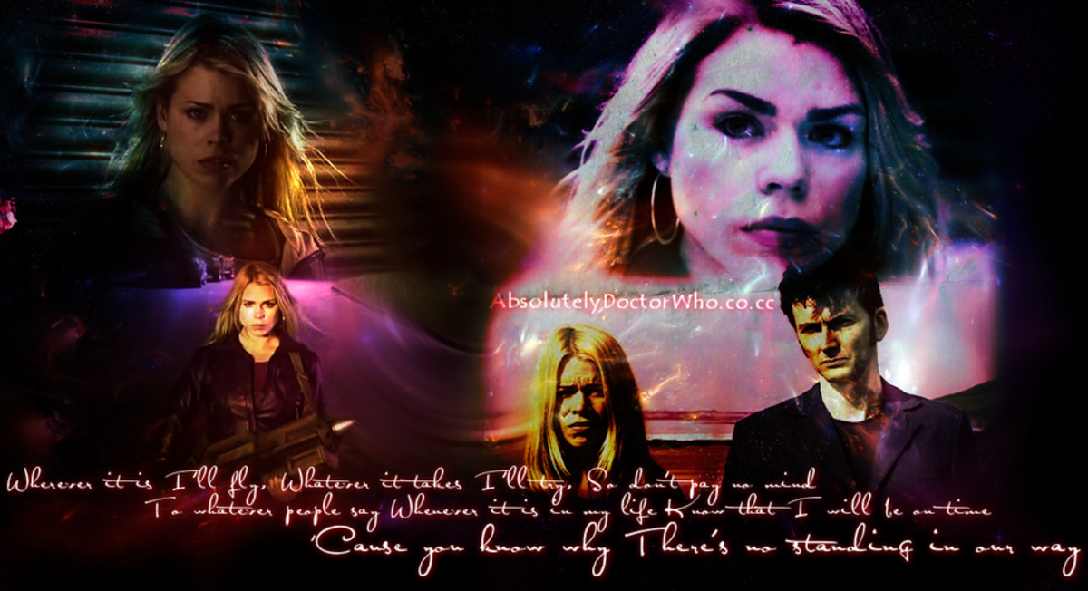 Billie Piper as Rose Tyler, David Tenant as The Doctor.