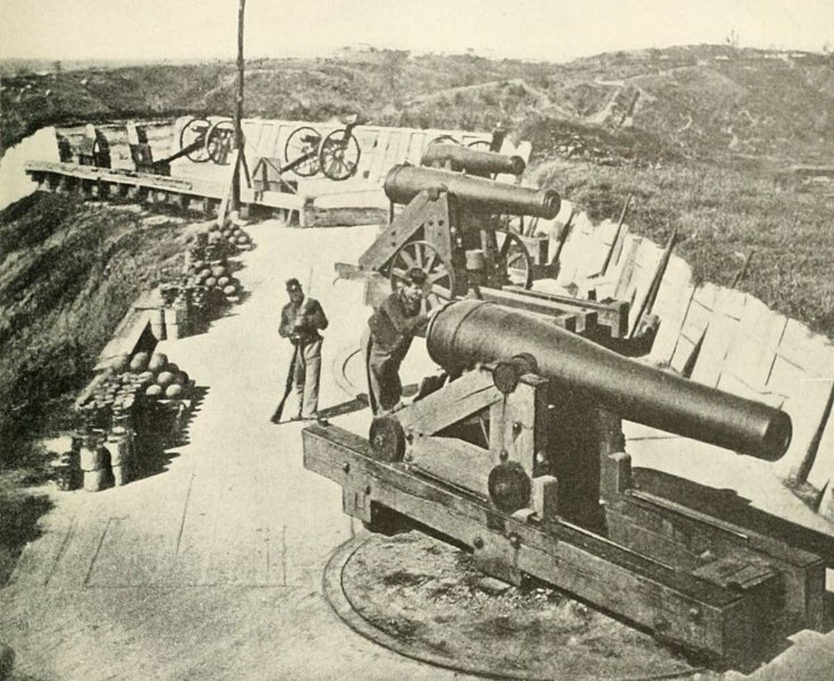 The big guns of Battery Sherman in 1863 just after the siege of Vicksburg