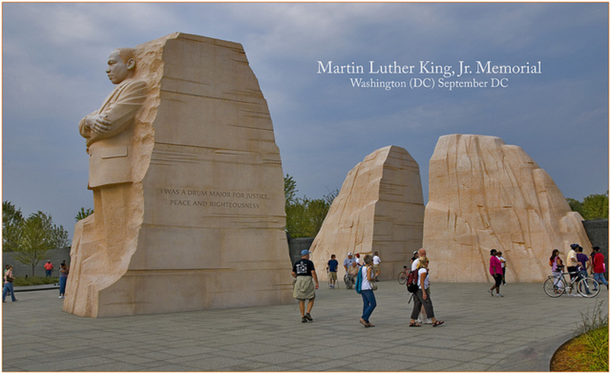 "A 30-foot tall statue dominates the Martin Luther King, Jr. Memorial in Washington, D.C. The Civil Rights leader's image is carved into the ""Stone of Hope,"" which appears to have split two large boulders representing the ""Mountain of Despair."""