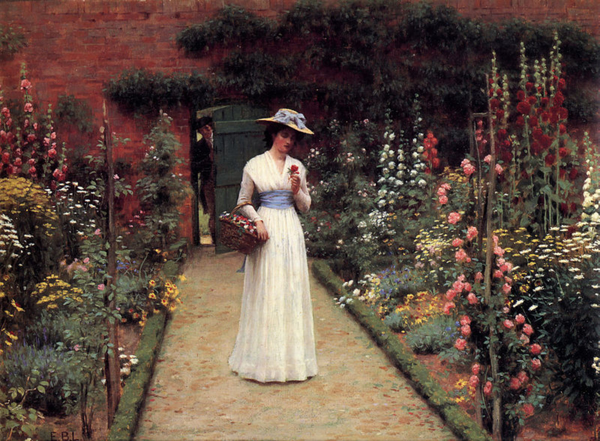 """Lady in a Garden"" Edmund Leighton"